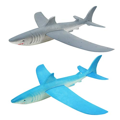 NUOBESTY Glider Toy Manual Throwing Shark Airplane Model Plane Toys Desktop Ornament Flying Glider Planes Shark Toys for Children 2 Pcs