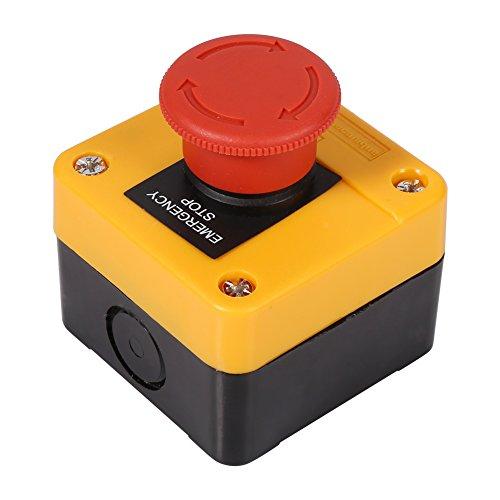 Omabeta 1 Unidad 660 V 10A Carcasa de plástico señal roja Parada de Emergencia Interruptor de botón de Seta Nueva Caja de Interruptor de Parada para Emergencia en el hogar