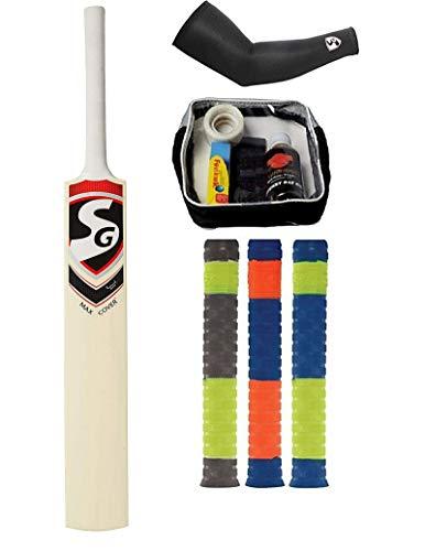 SG Combo de 4 MAX Cover Bat, un Kit de Cuidado de Bate de críquet y un par de Mangas de Cricket con 3 agarres (Color en disponibilidad) – Kit de Cricket
