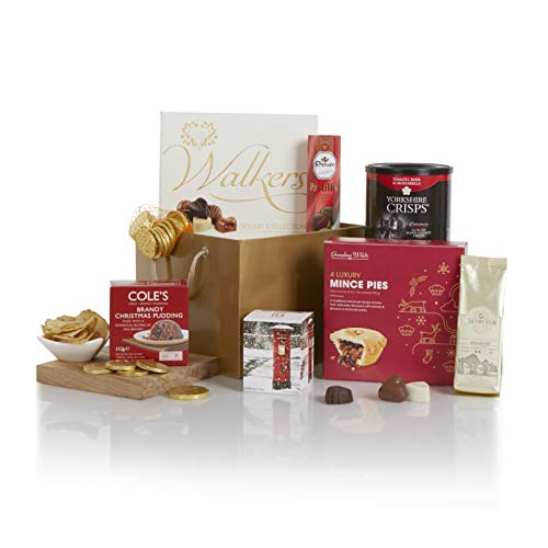 A Little Taste of Christmas Hamper - Xmas Hampers and Festive Gift Baskets for Her - Christmas Food Goodies in A Great Gold Gift Bag