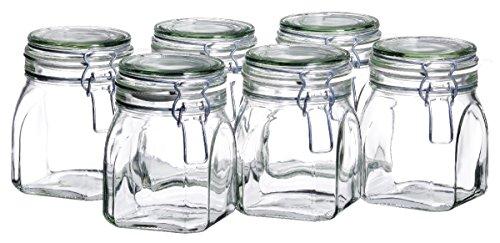 MÄSER 925339 Gothika, Einmachgläser 750 ml, 6er Set, made in Germany, Vorratsgläser mit Deckel und Drahtbügel zum luftdichten Aufbewahren, Einkochen und Einlegen, Glas, transparent