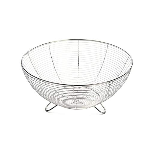 GVCD RVS Fruitmand Kitchen Vegetable Drain wasmand Waterfiltratie Storage Basket (Color : Silver)