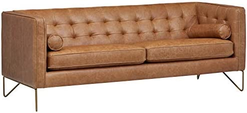 Best Amazon Brand – Rivet Brooke Contemporary Mid-Century Modern Tufted Leather Sofa Couch, 82