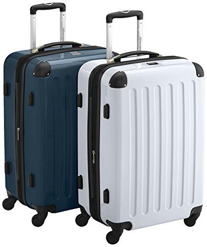 HAUPTSTADTKOFFER - Alex - 2er Koffer-Set Hartschale glänzend, TSA, 65 cm, 74 Liter, Weiss-Waldgruen