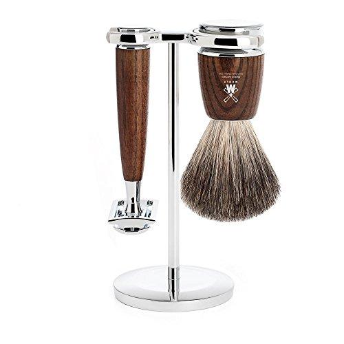 MÜHLE - 3-pièces jeu pour rasage en poils de blaireau pur / rasoir de sécurité - RYTMO Serie - poignée frêne foncé