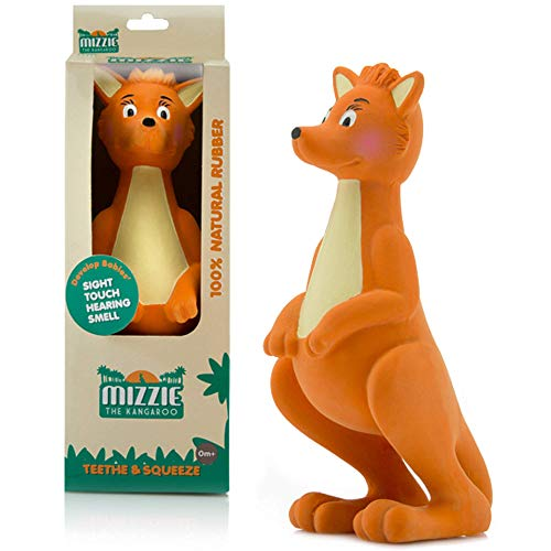 Mizzie The Kangaroo - Natural Rubber Baby Teething Toy & Squeaky Squeeze Toy To Aid Children's Development
