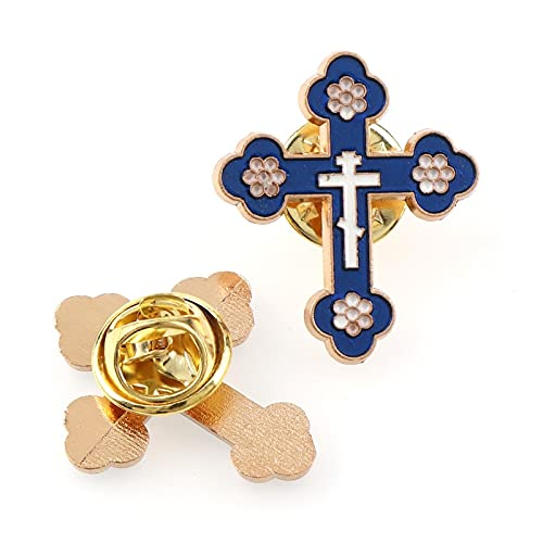 DVPHA Enamel Brooches Pins Crucifix Saint Christ Metal Badges Cross Lapel Pins for Clothes Vintage Boutonniere Collar Jewelry (Metal color: Dark bule)