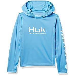 HUK Kids' Standard Icon X Hoodie Long-Sleeve Shirt with Sun Protection, Carolina Blue, Large