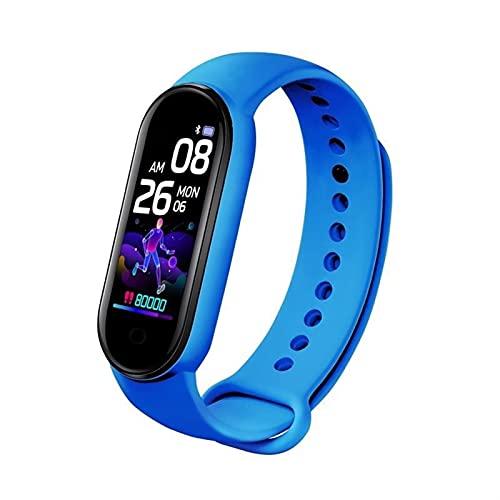 ZFF Pulsera Deportiva - Smart Watch Sport Fitness Tracker Pedómetro Tarifa cardíaca Monitor de presión Arterial Bluetooth Smart Band Pulsera Hombres Mujeres (Color : Blue)