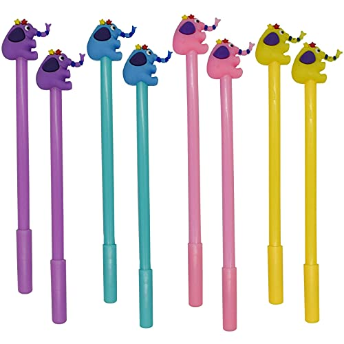 Maydahui 12PCS Elephant Shaped Rollerball Pen Novelty Animal Pens Cool Fancy Fun Kawaii Writing Pen Black Gel Ink for Kids Teens Adults