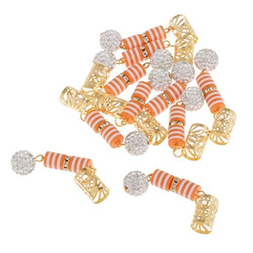 Toygogo 10pièces Anneau de Tressage de Cheveux Dreadlocks Perles en Résine Strass DIY Pendentifs/Bracelet/Collier - Orange