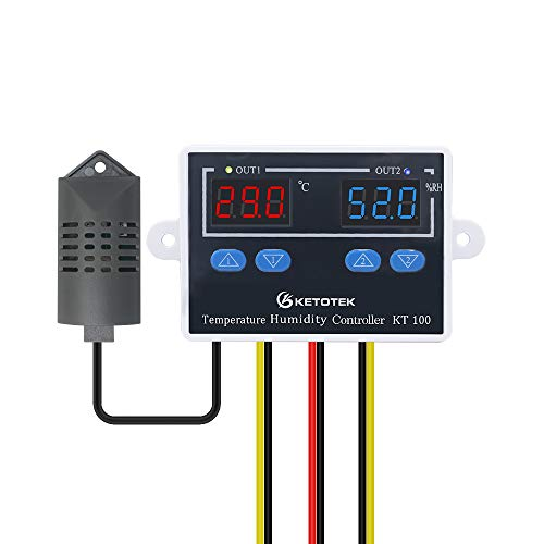 KETOTEK regolatore di temperatura digitale, regolatore di umidità, termostato riscaldamento raffreddamento programmabile con sensore sonda controller per incubatore 230V