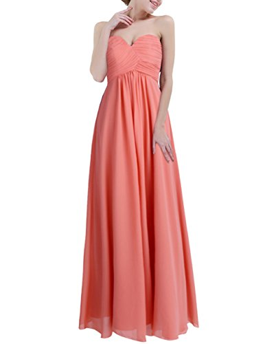 YiZYiF Sweetheart Bridesmaid Chiffon Prom Dresses Strapless Long Evening Gowns Coral 16