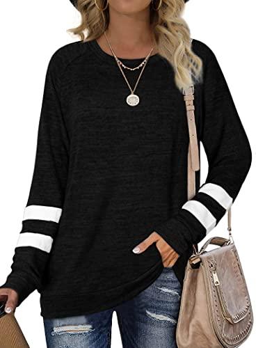 Sweatshirt for Women Crewneck Long Sleeve Tops Fall Clothes 2021 Black XXL