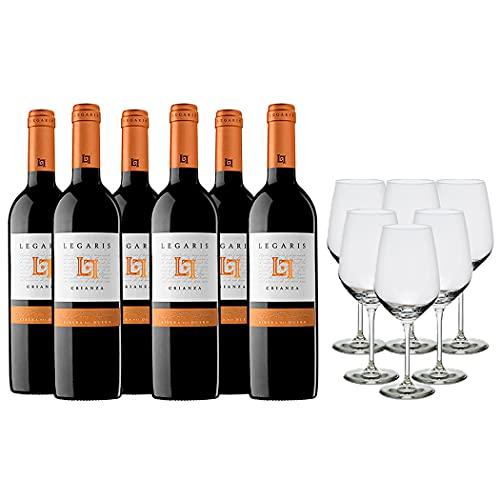 Legaris Pack Vino Tinto - 6 botellas de Legaris Crianza de 75cl + 6 copas - 4500 ml