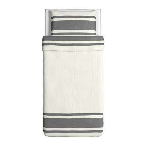 Ikea Bjornloka Duvet Cover and Pillowcase, Black White, Black, Twin by Ikea