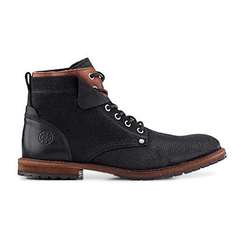 Cox Herren Schnür-Boots aus einem Leder-Textil-Mix, Stiefel in Braun mit Profil-Laufsohle Schwarz Leder 43