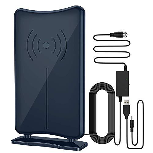 Antena de TV, antena KKUYI de 5.20 m, antena de TV de tiempo de ejecución,exteriores, amplificada digital de 200 km,antena 4G filtrada azul para todos los televisores, con soporte desmontable