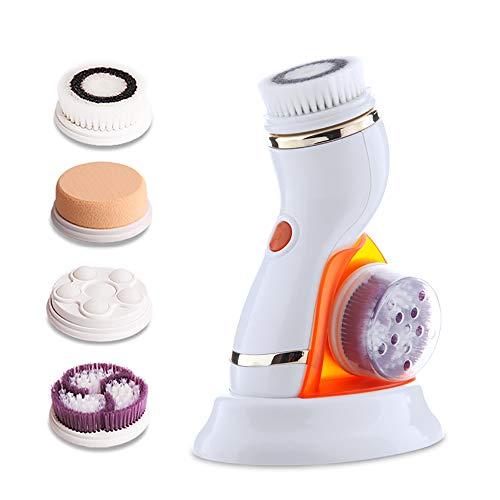 Nanssigy Cepillo Limpiador Facial Eléctrico 4 en 1, Limpiador de Cara Giratoria USB Recargable Impermeable Masajeador Facial con 4 Cabezales de Cepillo Eliminar Cosméticos para Todo Tipo de Piels