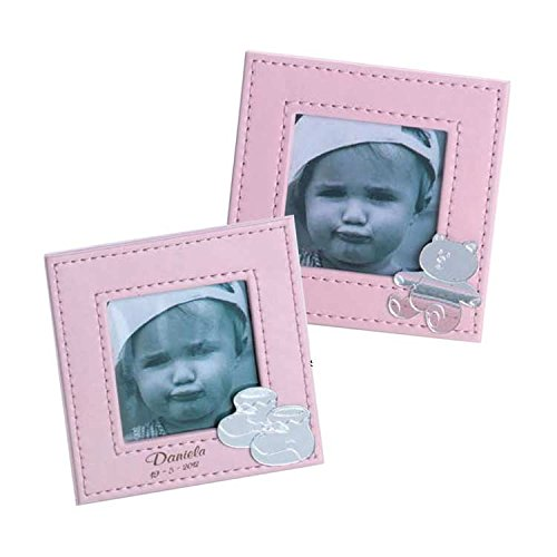 Curia Grabador Portafoto para Bautizo en Cuero Rosa Personalizado con Nombre y Fecha. Pack 10 Unidades