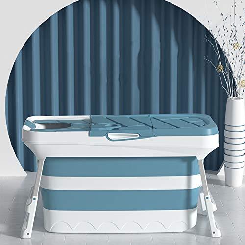 Bañera Plegable para Adultos, bañera doméstica, bañera portátil Disponible en Todas Las Estaciones, bañera Familiar portátil con Cubierta termostática,Azul