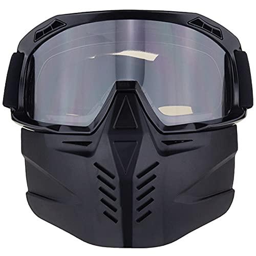 MELAG Gafas Ciclismo Gafas de Motocicleta con máscara Facial Desmontable Casco A Prueba de Niebla A Prueba de Viento Protección UV Bicicleta ATV MX Gafas para Desierto Offroad Riding Racing Se Adapta
