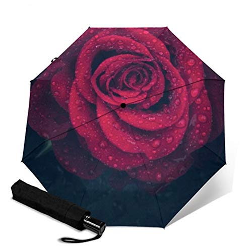 N\A A Prueba de Viento Ligero Paraguas Palo Floral de la Flor Completa de impresión automática Parapluie Rainy portátil Plegable Paraguas a Prueba de Viento Hombres Mujeres Paraguas (Color : YSC1015)