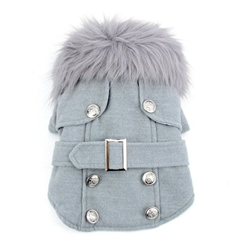 Pet Cat Dog Clothes European Woolen Fur Collar Coat Small Dog Cat...