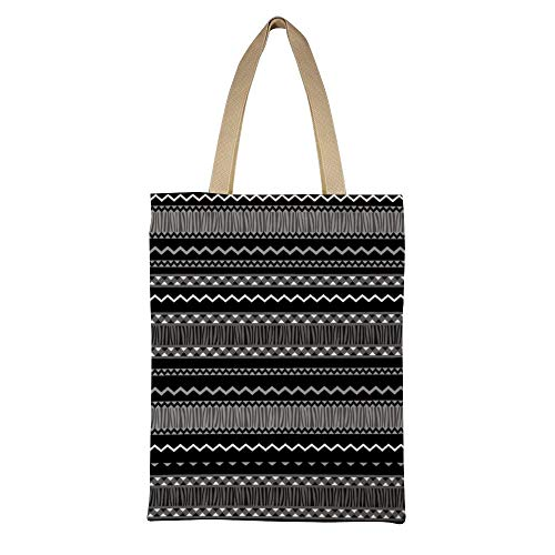 DKISEE Ethnic Abstract Geometric Seamless Pattern Reusable Canvas Tote Handbag Eco-Friendly Printed Tote Bag Large Casual Shoulder Bag Shopping Bag