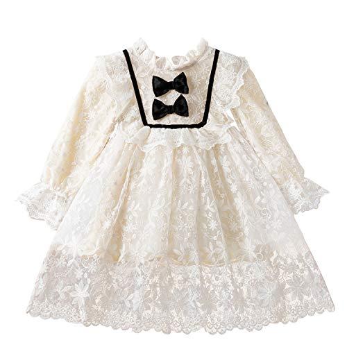 NNJXD Niña Vestido Mangas largas Cordón Bordado Princesa Vestido Cumpleaños Fiesta (2-3...