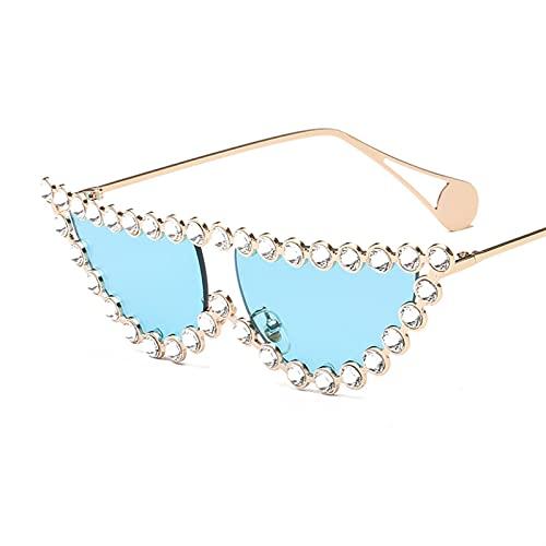 Fashion Cat Eye Diamond Gafas de Sol Mujeres Vintage Triángulo Sombras Rhinestone Metal Gafas de Sol para Mujer UV400 (Color : 5, Size : F)