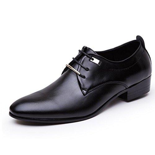Los hombres señalaron el dedo del pie vestido de negocios formal zapatos de cuero Oxford planos mocasines deslizarse, negro (Negro), 44.5 EU