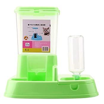 Zerodis 2 en 1 Distributeur de Nourriture Fontaine à Eau pour Chat Chien Animaux Accesoires Gamelle et Distributeur(Green)