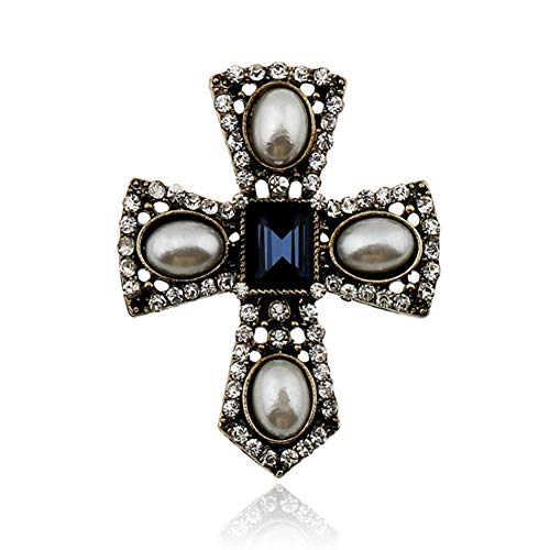 Fashion Mini Exquisite Cameo Simulated Pearl Brooches For Women Vintage Crystal Rhinestone Cross Brooch Pins Best Gift