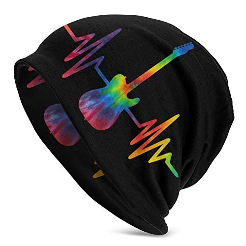 XCNGG Tie Dye Guitar Heartbeat Mujeres Hombres Elegante Beanie Hat Soft Stretch Knit Slouchy Skull Cap