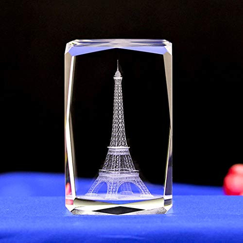 3D Eiffel Tower paperweight(Laser Etched) in Crystal Glass Cube Birthday/Christmas Romantic Gifts(No included LED base)(3.2x2.1x2.1 inch)