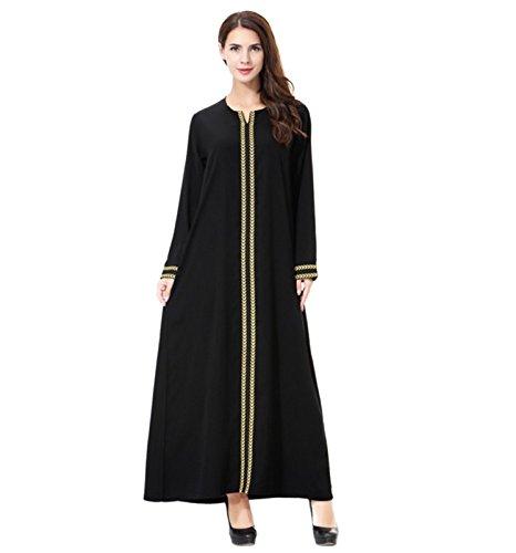 Dreamskull Damen Frauen Muslim Abaya Dubai Muslimische Kleid Kleidung Winter Kleider Arab Arabisch Indien Türkisch Casual Abendkleid Hochzeit Kaftan Robe Maxikleid S-3XL (Gelb, XXXL)