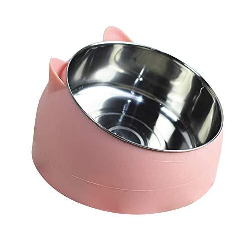 d.stil Katzennäpf Edelstahl rutschfest Nicht verschüttet Mehrfarbig Futternapf Katze Hunde Wassernapf Schüssel 1L (Pink)