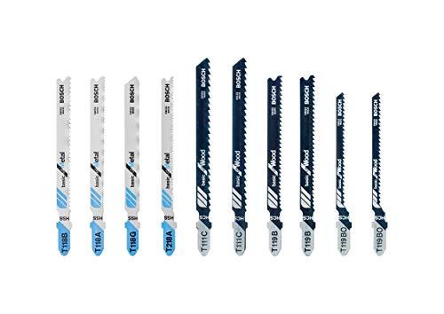 Bosch Professional 260925C105 Set de 10 hojas de sierra de calar madera y metal básico, accesorio de sierra de calar