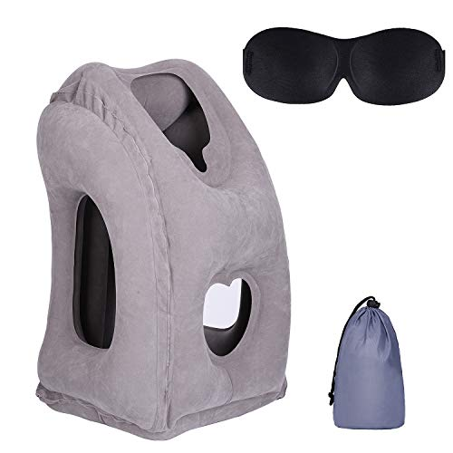 Vedusal Inflatable Neck Pillow, Portable Travel Pillows for Airplanes/Cars/Buses/Trains/Office Napping with Free Eye Mask (Gray)