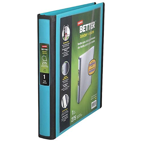 STAPLES Better 1-Inch D 3-Ring View Binder – Holds up to 275 Sheets, Heavy Duty Binder with a Wide Design, 1 Interior Pocket, Perfect 3-Ring Binder for Reports, Projects & More