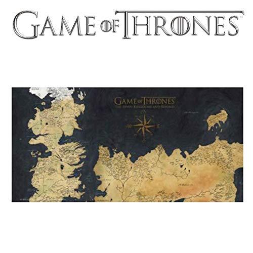 SD toys - Poster En Verre Game of Thrones - Westeros Map 50x25cm - 8436546891949