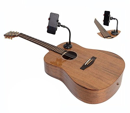 Big Mountain Music - Guitar Phone Holder Smartphone Support Mount for Acoustic & Electric Guitars - Adjustable Clamp Compatible with Iphone, Samsung, Android & Google Phones