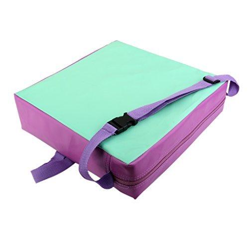 Coussin d'Appoint Réhausseur en Cuir Synthétique pour Chaise de Salle à Manger Enfant - Vert et Violet , 17 * 9cm