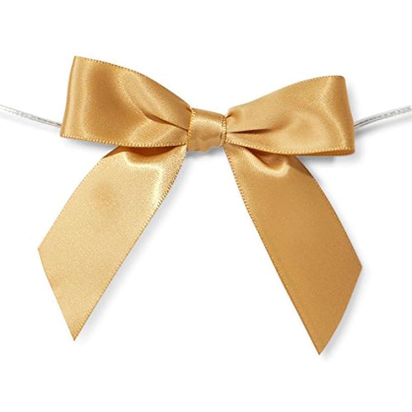 Pre-Tied Satin Bows, 7/8-Inch, 12-Piece (Gold)