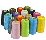 17 colores 3000 yardas máquina de coser overlock industrial hilo de poliéster conos, Gris oscuro, 1