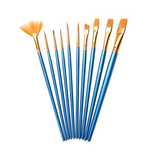 iplusmile Penselen - Acrylverf Kwast Synthetisch Multifunctioneel Veilige Pen Kwast Voor Acryl/Olie/Aquarel Schilderen Nylon Wol Blauwe Balk (10St)