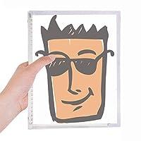 サングラスの抽象的な顔スケッチ絵文字 硬質プラスチックルーズリーフノートノート