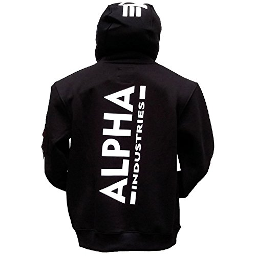 Alpha Back Print Hoody kuscheliger Kapuzensweater mit Bauchtasche und Multifunktionstasche mit Siebdruck, Größe:XXL, Farbe:black
