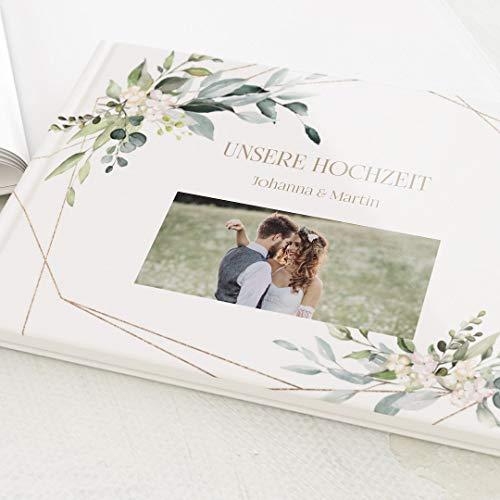 sendmoments Fotobuch zum Eintragen, personalisiert mit Ihrem Text und - Bild, Greenery & Gold, Leere...